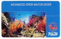 карточка PADI Advanced Open Water